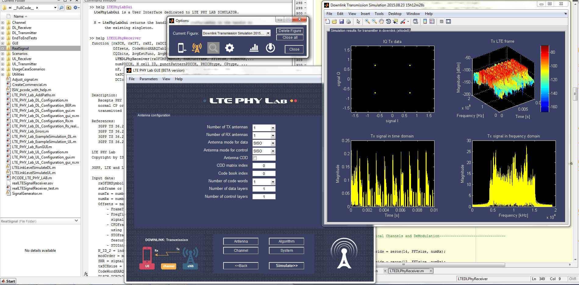 LTE PHY Lab GUI overview